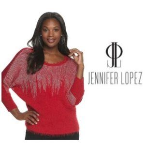 Jennifer Lopez Womens Red Metallic Sweater Sz XXL